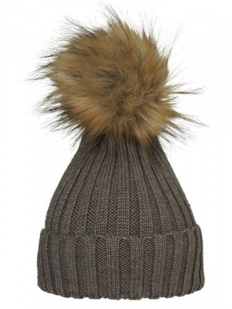 Hollies Pom Pom Classic Hat Taupe/natural Racoonn
