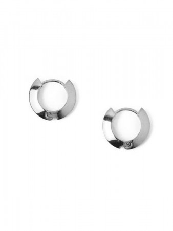 Orelia - Clean Edge Hug Hoops Silver