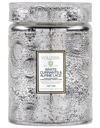 Voluspa Large Glass Jar Candle - white currants & alpine lace