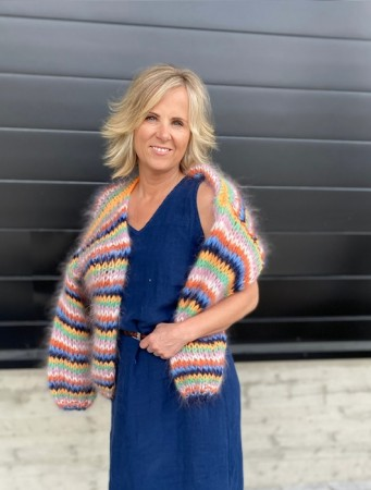 Les Tricots D'o Multi Col. Multicolor Stripes Cardigan