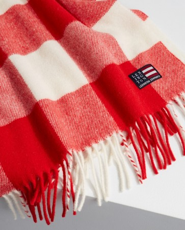 Lexington Red/white Massachusetts Recycled Wool Blend Scarf
