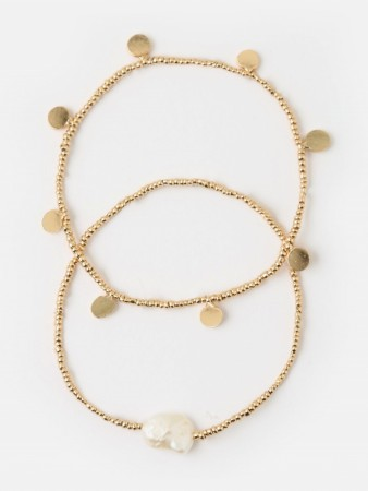 Orelia Gold Pearl And Coin Bracelet