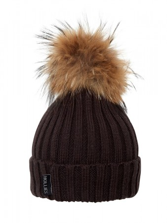 Hollies Pom Pom Classic Hat Dk Brown/natural Racoonn