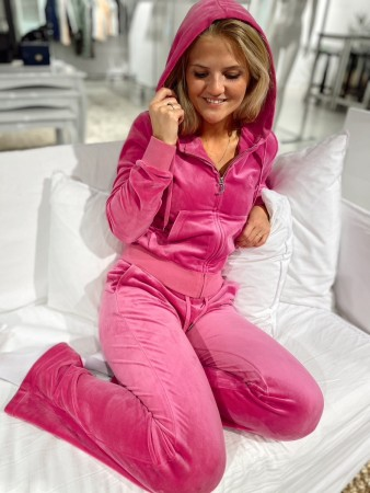 Juicy Couture Rasberry Rose Robertson Classic Velour Zip Trough Hoodie