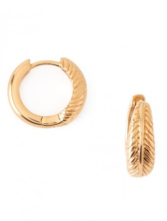 Orelia Gold Feather Huggie Hoops