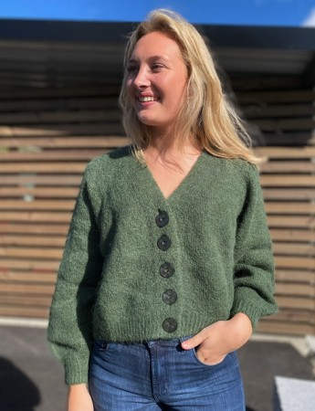 Bytimo Green Hairy Knit Cardigan