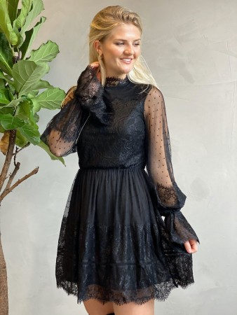 Na-kd Frill Lace Dress Black