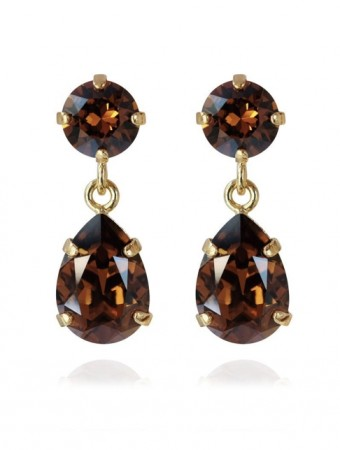 Caroline Svedbom Smoked Topaz Mini Drop Earring Gold