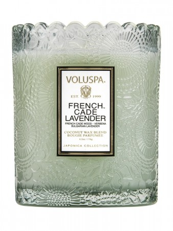 Voluspa Boxed Scalloped Edge Candle 50tim French Cade Lavender