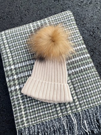 Hollies Pom Pom Classic Hat Beige/natural Racoonn