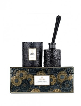 Voluspa Scalloped Candle + Diffuser Gift Set - Moso Bamboo