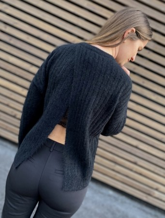 Second Female Black Brooky Knit Open Back
