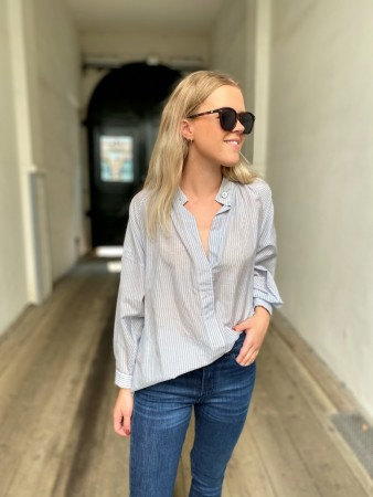 Cathrine Hammel French Blue Stripes - Striped Sheer Poem Shirt
