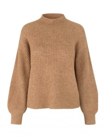 Second Female Bone Brown Galia Knit T-neck